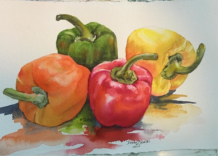 Watercolor Greeting Card featuring the painting More peppers by Diane Ziemski