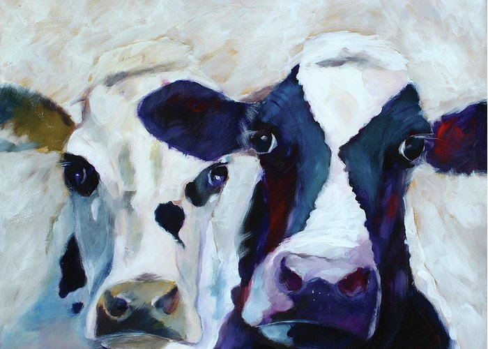 Animals Greeting Card featuring the painting More White Than Black More Black Than White by Ron Patterson