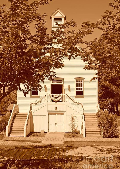 Sepia Greeting Card featuring the photograph Mormon Pine Valley Meeting House by Dennis Hammer