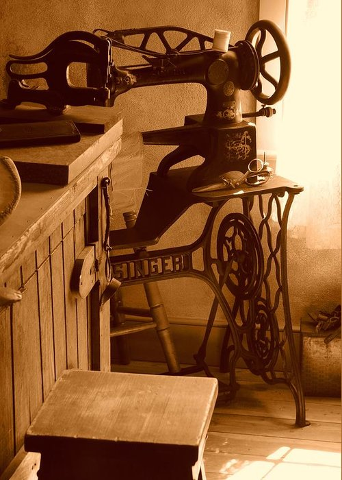 Sepia Greeting Card featuring the photograph Mormon Singer Sewing Machine by Dennis Hammer