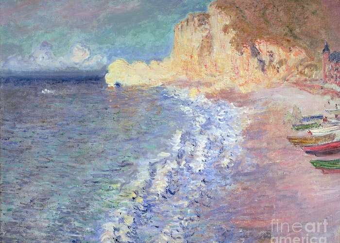 Morning Greeting Card featuring the painting Morning At Etretat by Claude Monet