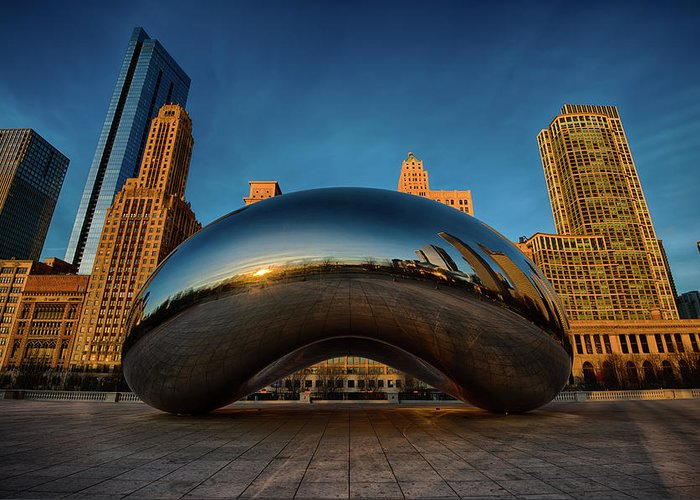 Chicago Cloud Gate Greeting Card featuring the photograph Morning Bean by Sebastian Musial