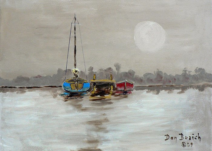Foggy Morning Greeting Card featuring the painting Morning Boats by Dan Bozich