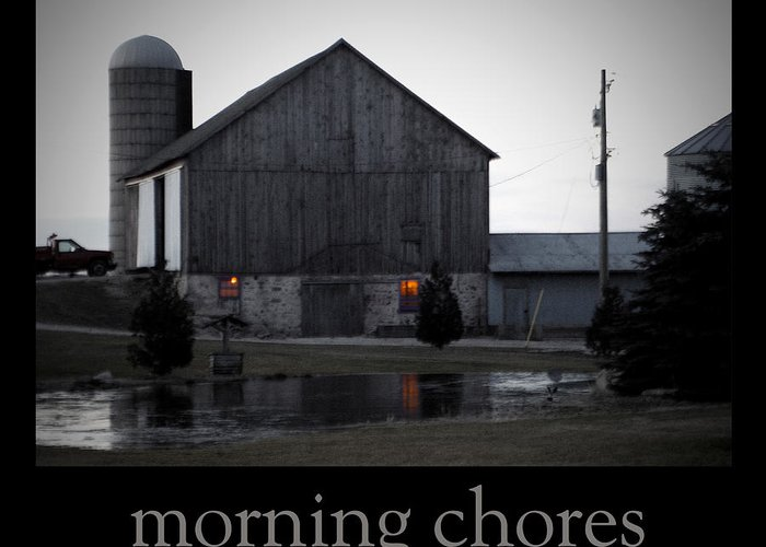 Poster Greeting Card featuring the photograph Morning Chores by Tim Nyberg