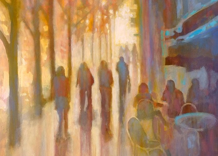 Sidewalk Greeting Card featuring the painting Morning Coffee by Kip Decker