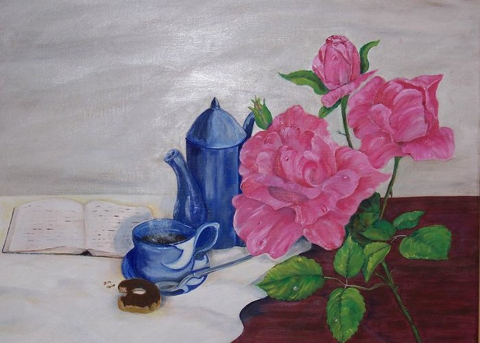Still Life Greeting Card featuring the painting Morning Coffee by Penny Everhart