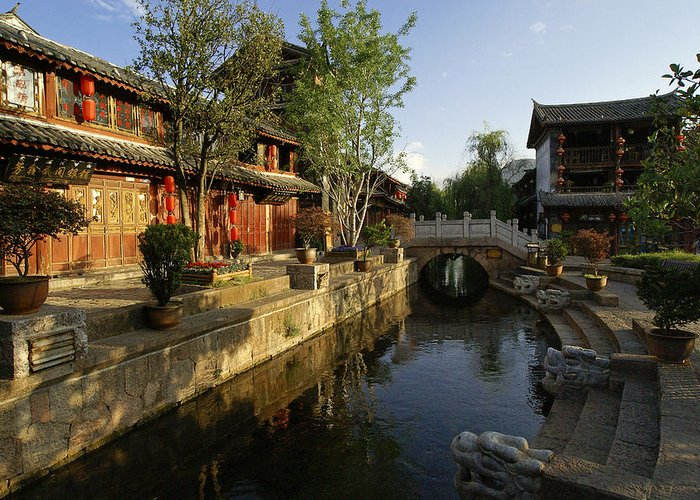 Asia Greeting Card featuring the photograph Morning Comes to Lijiang Ancient Town by Michele Burgess