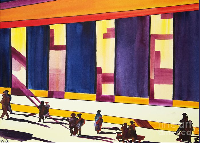 Figures Greeting Card featuring the painting Morning Commute Cle by JoAnn DePolo