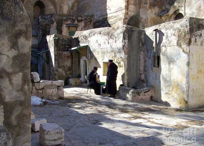 Jerusalem Greeting Card featuring the photograph Morning Conversation by Kathy McClure