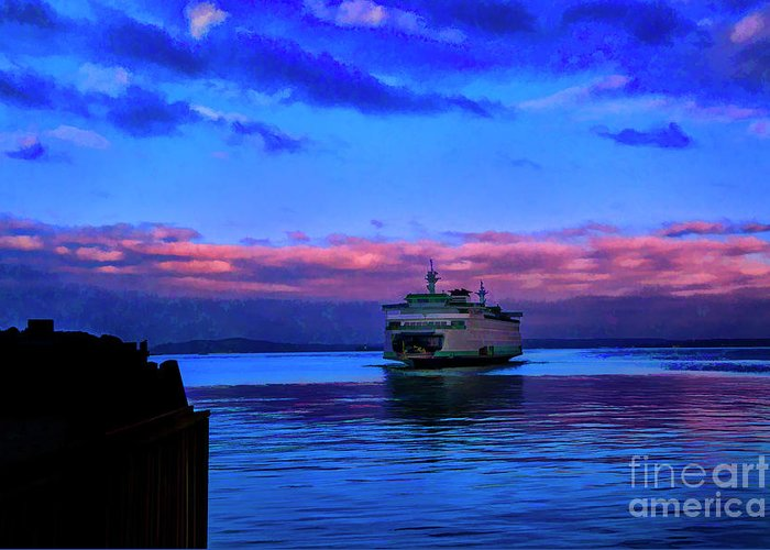 Washington State Seattle Ferries Water Greeting Card featuring the photograph Morning Ferry by Rick Bragan