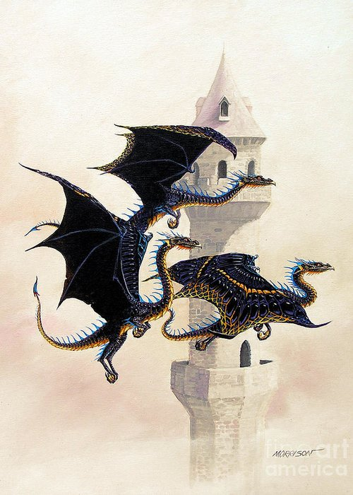 Dragon Greeting Card featuring the painting Morning Flight by Stanley Morrison