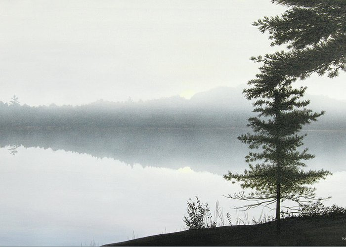 Landscapes Greeting Card featuring the painting Morning Fog by Kenneth M Kirsch