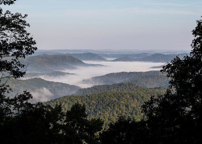 Morning Greeting Card featuring the photograph Morning Fog On Pine Mountain by Cris Ritchie