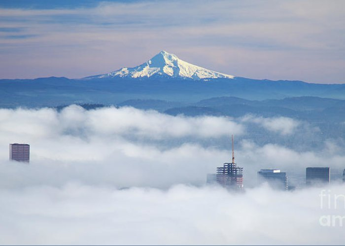 Portland Greeting Card featuring the photograph Morning Fog Over Portland by Bruce Block