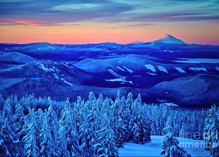 Winter Greeting Card featuring the photograph Morning From Timberline Lodge by Bruce Block