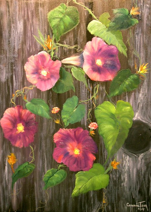 Connie Tom Greeting Card featuring the painting Morning Glories by Connie Tom