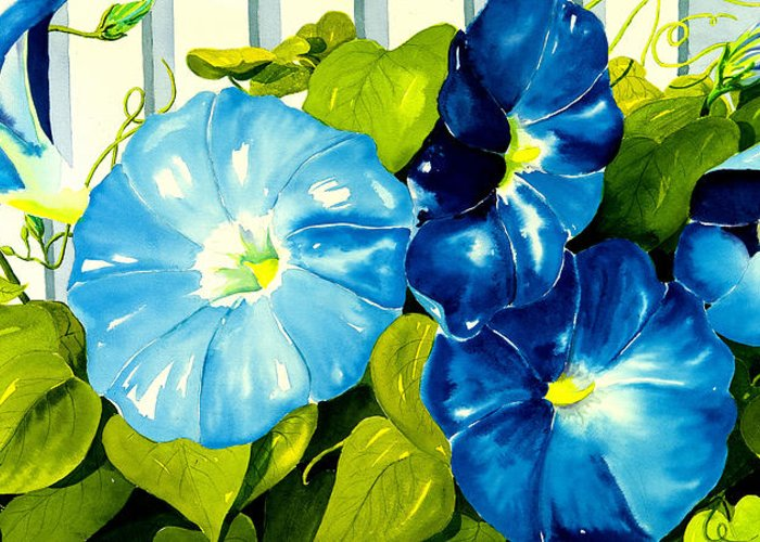 Flower Greeting Card featuring the painting Morning Glories In Blue by Janis Grau
