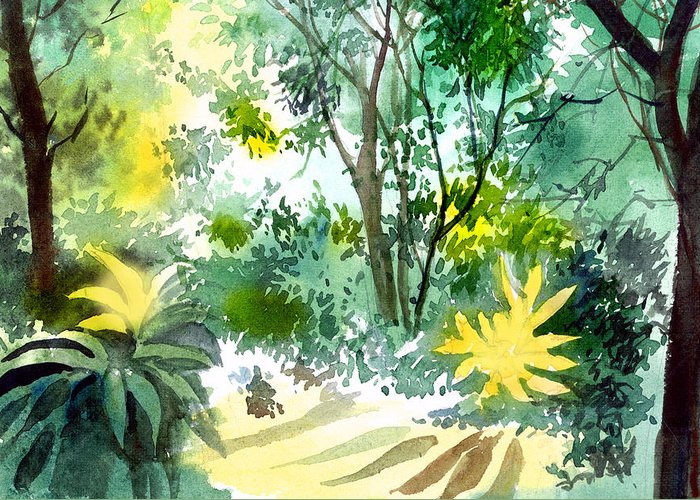 Landscape Greeting Card featuring the painting Morning Glory by Anil Nene