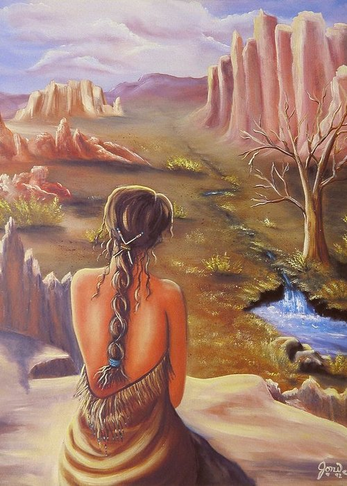 Native American Greeting Card featuring the painting Morning Glory by Joni McPherson