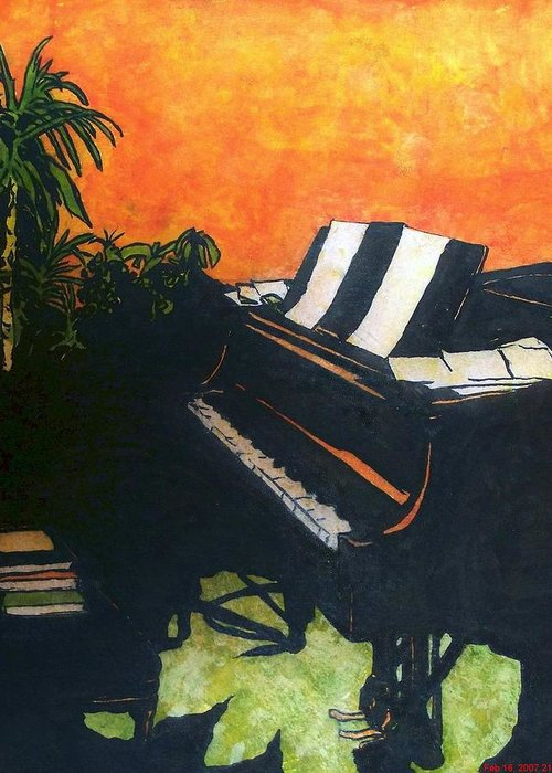 Piano Greeting Card featuring the painting Morning Glory by Shane Hurd