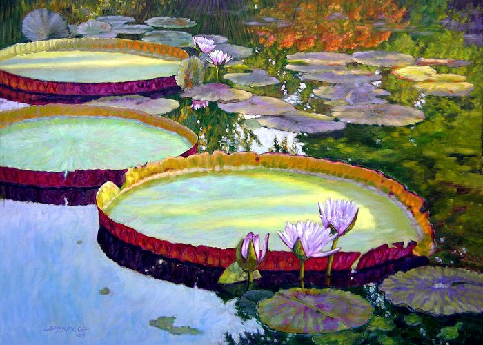 Garden Pond Greeting Card featuring the painting Morning Highlights by John Lautermilch
