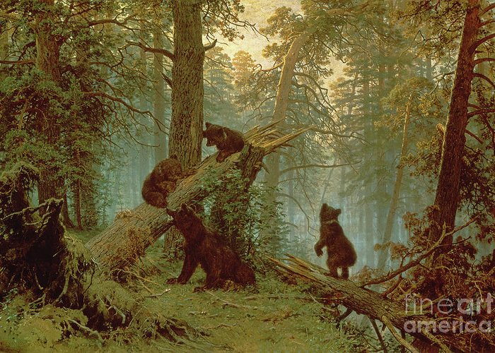 Morning Greeting Card featuring the painting Morning In A Pine Forest by Ivan Ivanovich Shishkin