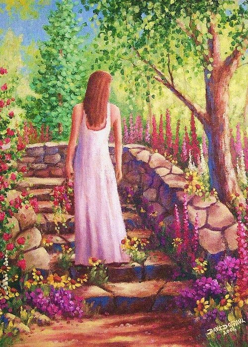 Woman Greeting Card featuring the painting Morning In Her Garden by David G Paul