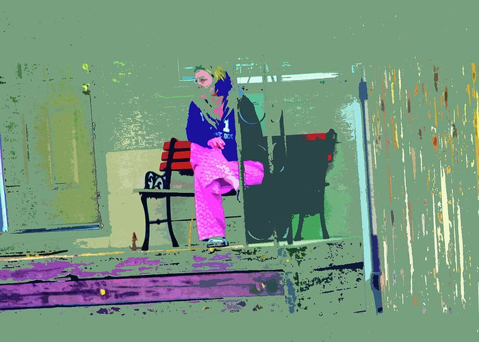 Abstract Greeting Card featuring the digital art Morning In Her Pink Pajamas by Lenore Senior