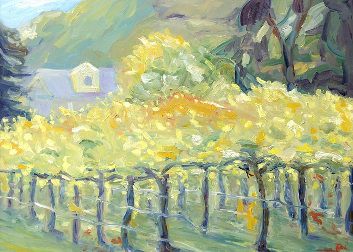 Vineyards In Early Fall Greeting Cards