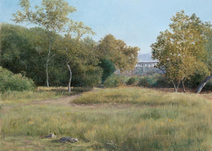 Landscape Greeting Card featuring the painting Morning In The Arroyo Seco by Laura Wynne