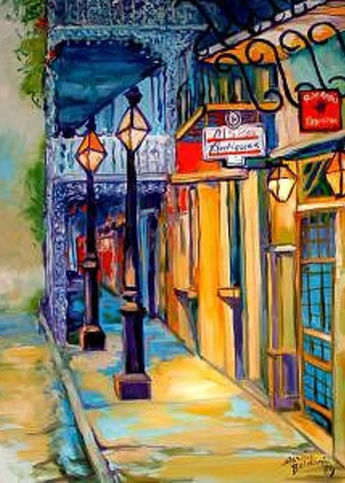New Orleans Greeting Card featuring the painting Morning In The French Quarter by Marcia Baldwin
