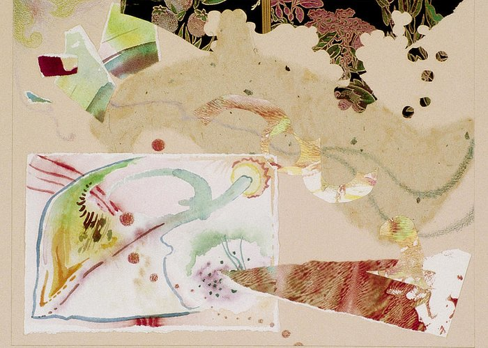 Collage Greeting Card featuring the mixed media Morning Infiltrates the Grape Arbor by Eileen Hale