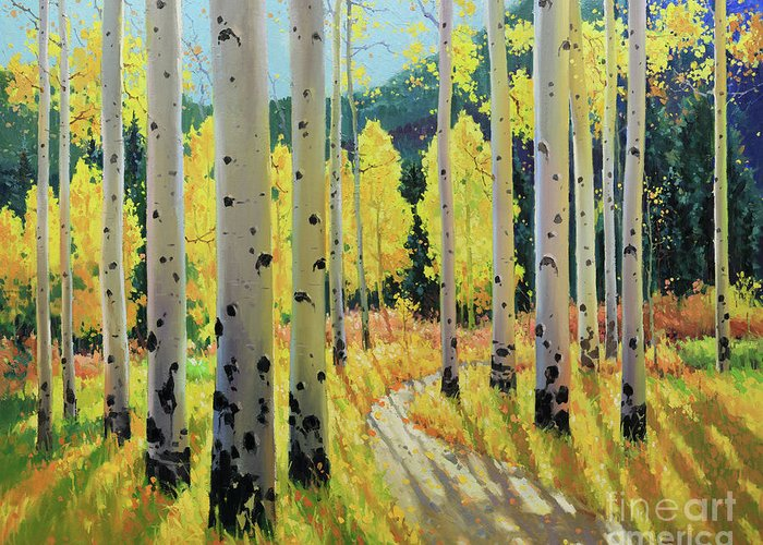 Aspen Trees Birch Trees Gary Kim Oil Print Art Print Woods Fall Trees Autumn Landscapes Landscape Nature Aspen Aspens Aspen Trees Aspen Tree Summer Flower Flowers Wildflowers Wildflower Tree Trees Meadow Meadows Greeting Card featuring the painting Morning Lights Of Aspen Trail by Gary Kim