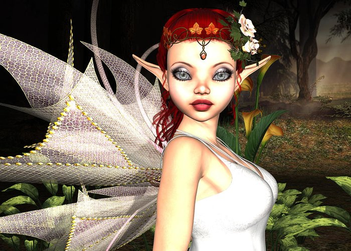 3d Greeting Card featuring the digital art Morning Lily Fairy by Alexander Butler
