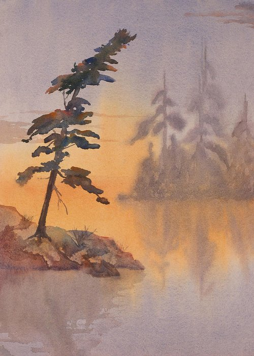 Lake Greeting Card featuring the painting Morning Mist by Debbie Homewood