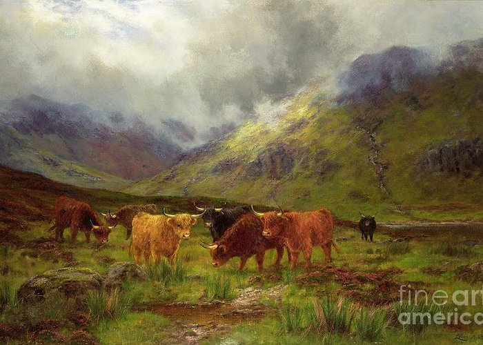 Landscape; Highlands; Scottish; Highland Cows; Mist; River; Aberdeen Angus; Glen; Valley; Horns Greeting Card featuring the painting Morning Mists by Louis Bosworth Hurt