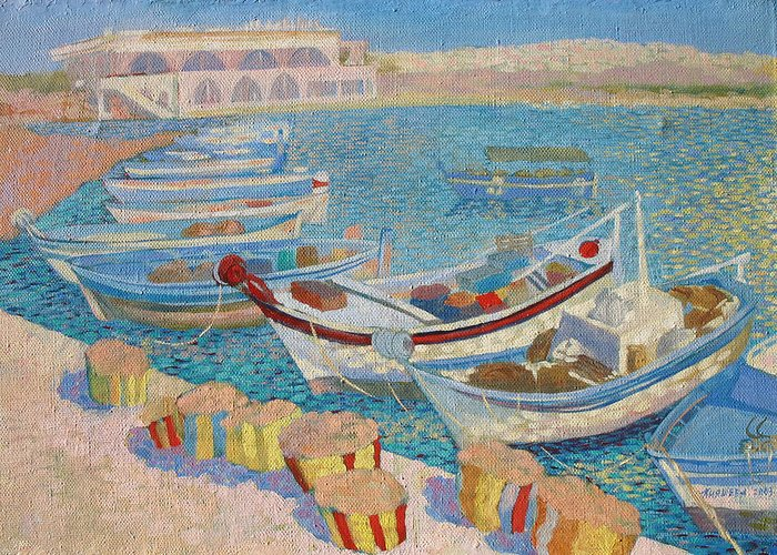 Seascape Greeting Card featuring the painting Morning On Cyprus .2003 by Natalia Piacheva