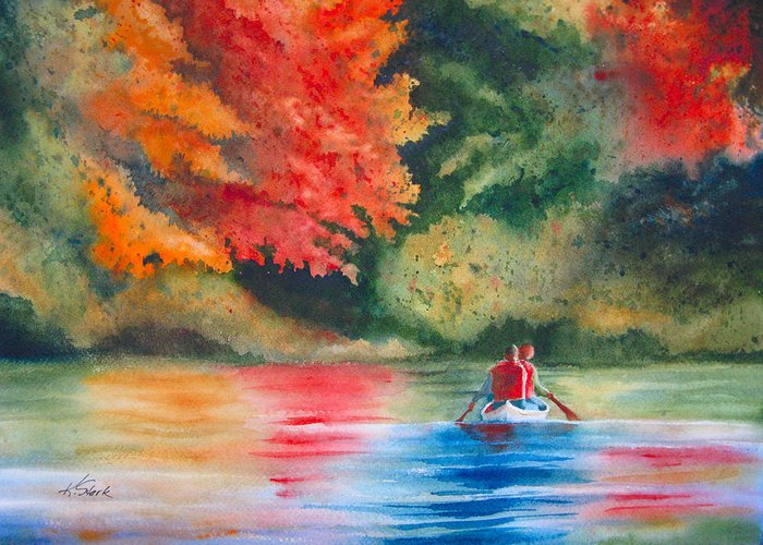 Lake Greeting Card featuring the painting Morning On The Lake by Karen Stark