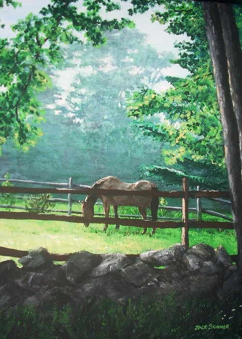 Horse Greeting Card featuring the painting Morning Pasture by Jack Skinner