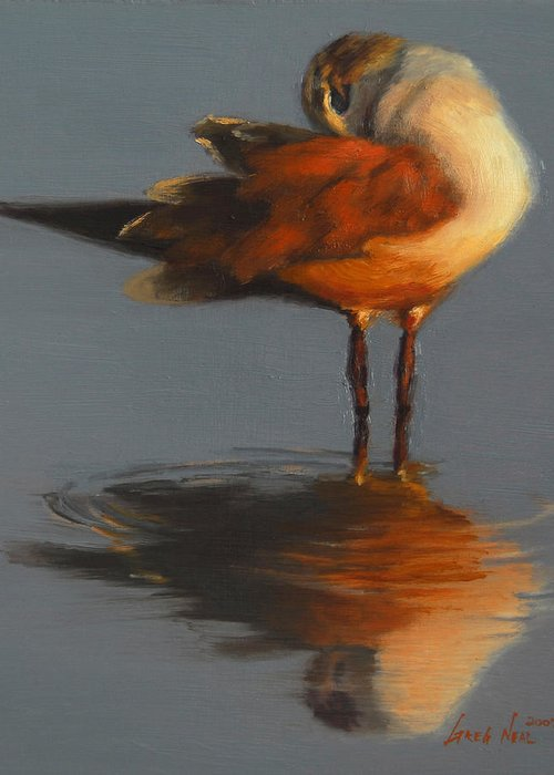 Bird Greeting Card featuring the painting Morning Reflection by Greg Neal