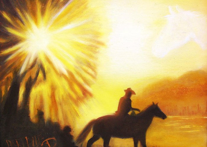 Sunrise Greeting Card featuring the painting Morning Ride by Darlene Green