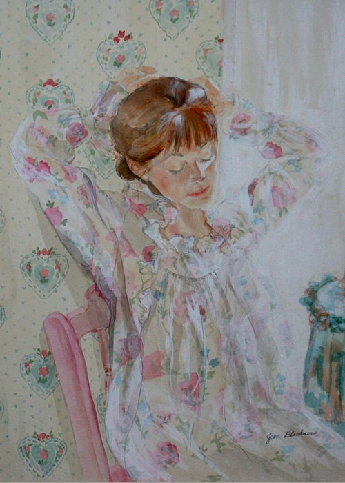 Morning Greeting Card featuring the painting Morning Ritual by Jean Blackmer