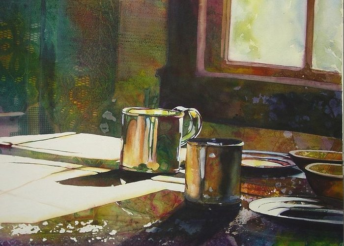 Still Life Greeting Card featuring the painting Morning Setting by Marlene Gremillion