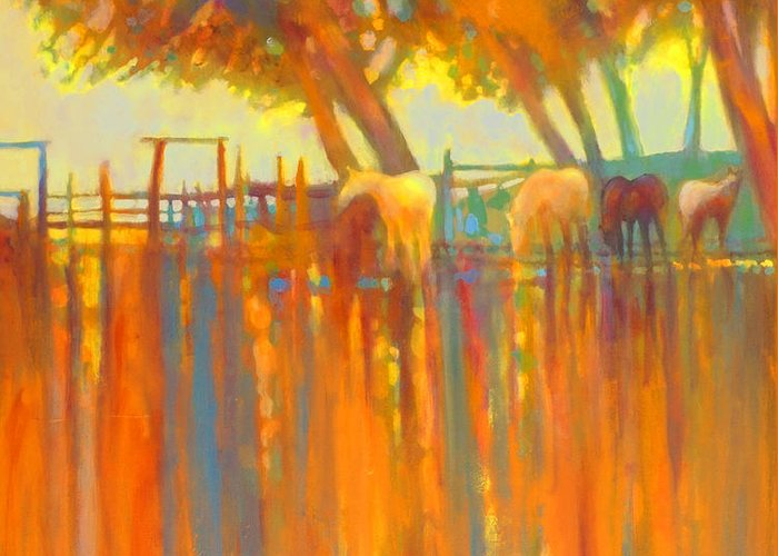 Horse Painting Greeting Card featuring the painting Morning Shadows by Kip Decker