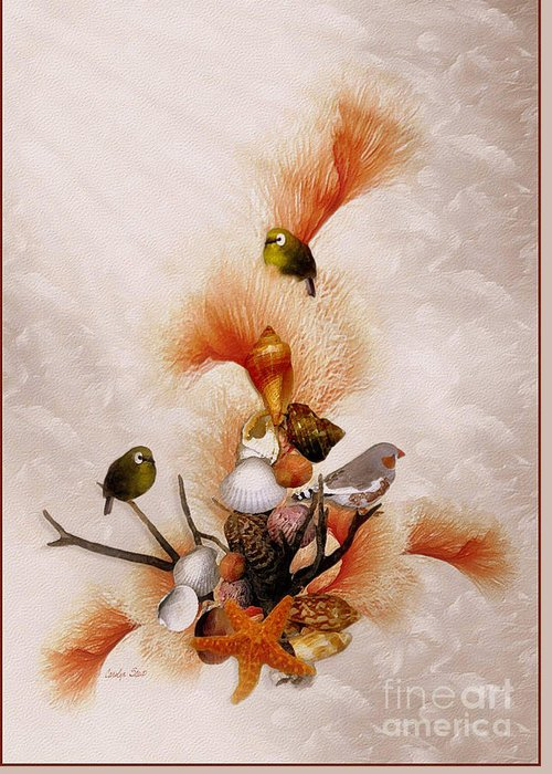 Shells Birds Seashore Tropical Coastal Peach Starfish Greeting Card featuring the painting Morning Song by Carolyn Staut