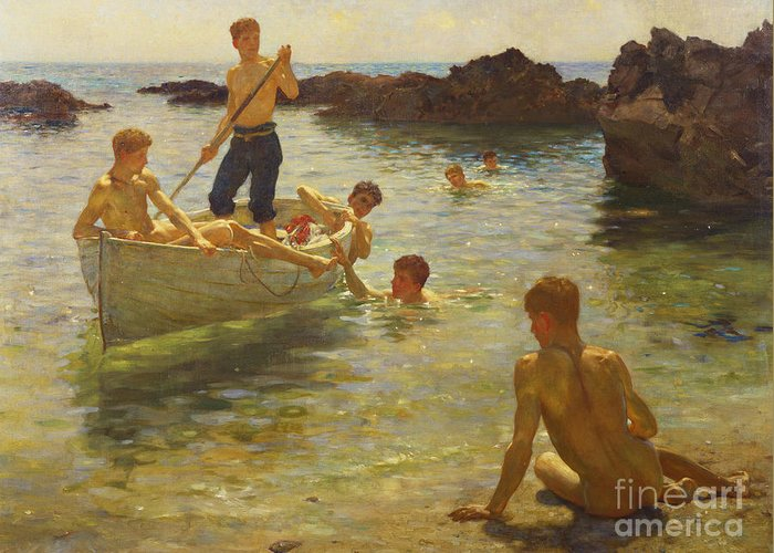 Swimming Greeting Card featuring the painting Morning Splendour by Henry Scott Tuke