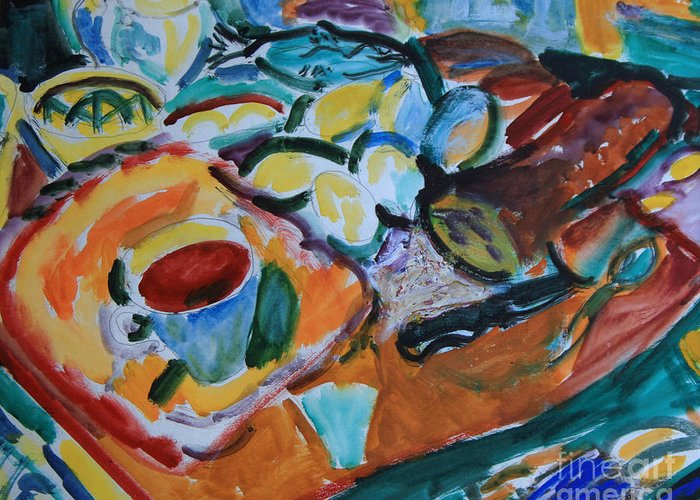 Still Life Greeting Card featuring the painting Morning Still Life by Andrey Semionov
