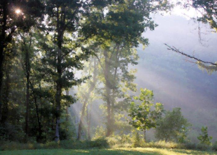 Morning Greeting Card featuring the digital art Morning Sun by Kristin Elmquist