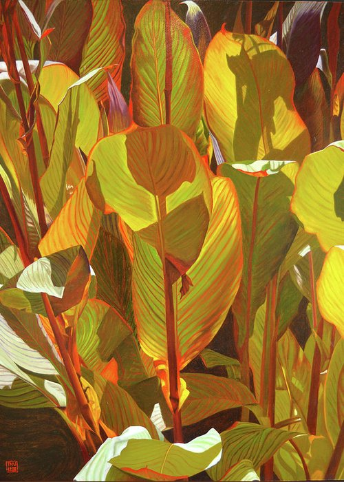 Botanical Art Greeting Card featuring the painting Morning Sun by Thu Nguyen