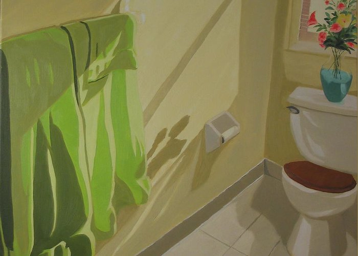 Interior Greeting Card featuring the painting Morning Sunlight by Lea Novak